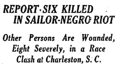 New York Times Headline for the 1919 Charleston Race Riot
