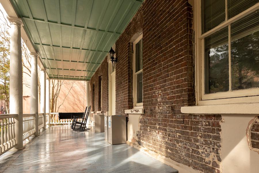 Bricks beneath stucco of 4 Green Way